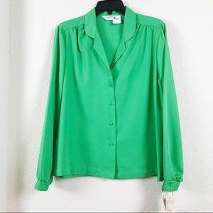 Vintage Green Long Sleeve Blouse NWT